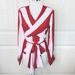 Beulah Style Red White Striped Wrap Blouse Unique